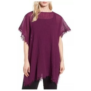 Eileen Fisher O/S Frayed Organic Cotton Poncho